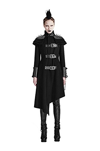 shoperama Damen-Mantel Asymmetrisch mit Spikes Punk Rave Y-679 Gothic Steampunk Halloween Horror Karneval Fasching Kostüm, Größe:XL