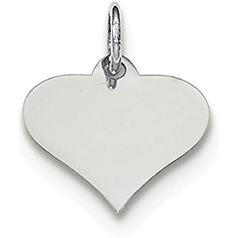 14 kt oro bianco Plain .009 Gauge incisione Cuore Disco Charm