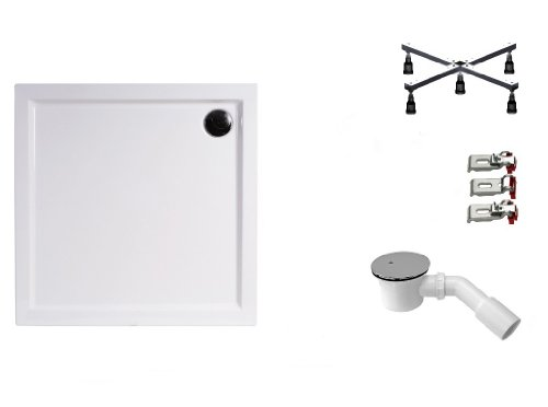 Mebasa DWSET235PF Duschwannen Set 100x100x3,5 cm inkl. Acryl Duschwanne, Duschwannenfuß, Ablaufgarnitur und Wannenanker