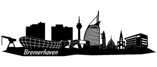 Samunshi® Wandtattoo Bremerhaven Skyline Wandaufkleber in 5 Größen und 19 Farben (120x35cm schwarz)