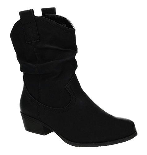 King Of Shoes Damen Stiefeletten Cowboy Western Stiefel Boots Schlupfstiefel Schuhe 36-2 (38, Schwarz)