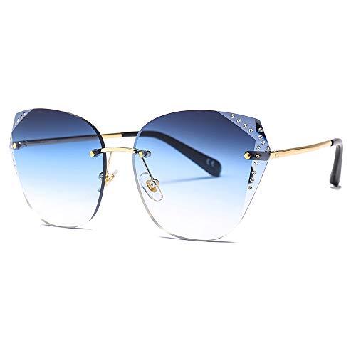GUOTAIYH Mode Sonnenbrillen New Luxury Damen Übergroße Quadrat Sonnenbrille Frauen Diamant Rahmen Spiegel Sonnenbrille Für WeiblicheC1 Gradienten Blau