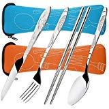 Ménagères Assorties en Acier Inoxydable, SENHAI 2 Paquets 8 Pièces de Couvert Incluent Couteau Fourchette Cuillère Baguettes, avec Etui de Transport de Protection - Bleu, Orange