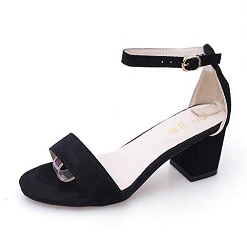 2018 Summer New Female High Heels Korean Version High-Heeled Shoes Thick with Fish Mouth Female sandalss Sandalias Mujer s012-1 Black 6.5