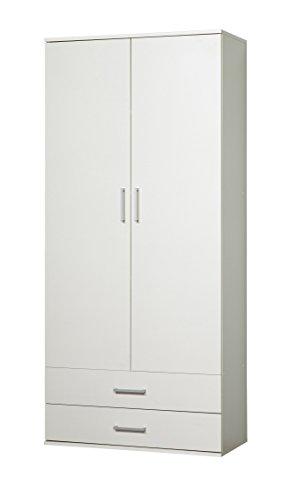 WILMES 49100-75 0 75 Schrank Ronny, 2 Türen, 2 Schubladen Dekor Melamin, 80 x 178 x 39 cm, weiß