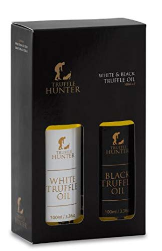 TruffleHunter Black & White Truffle Oil Gift Set (2 x 100ml) Extra Virgin Olive Oil Salad Dressing Seasoning Gourmet Food Gift Hampers - Vegan, Kosher, Gluten Free, Nut Free, Vegetarian
