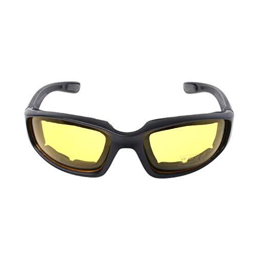 Fahrradbrille - Taktische Outdoor-Sportarten Radfahren Angeln Jagd Schutz Augen HD Schaum Pads Mode Fahrrad Fahren Schutz Brille Frauen Herren Reiten M gelb