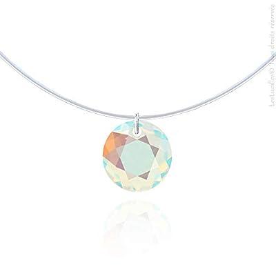 Taille au choix - Collier invisible Ras-de-cou Aurore Boréale - Argent 925 - Cristal Brillant - Fil de pêche solitaire diamant