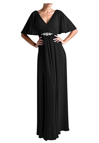 Charmant Damen Einfach Chiffon V-ausschnitt Abendkleider Brautmutterkleider Partykleider Lang A-linie Schwarz