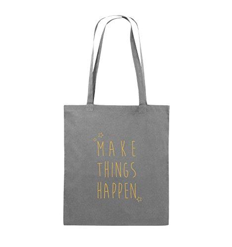 Comedy Bags - MAKE THINGS HAPPEN - Jutebeutel - lange Henkel - 38x42cm - Farbe: Schwarz / Silber Dunkelgrau / Gelb