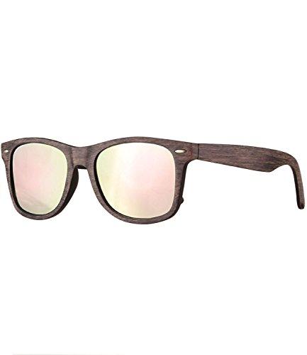 Caripe Retro Nerd Damen Herren Sonnenbrille getönt + verspiegelt - W-g (One Size, LS535 - Holzoptik braun - neon-rosa verspiegelt)