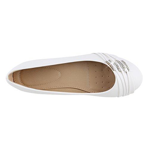 Klassische Damen Schuhe | Strass Ballerinas | Elegante Slipper| Übergrößen | Metallic Glitzer Flats Weiß