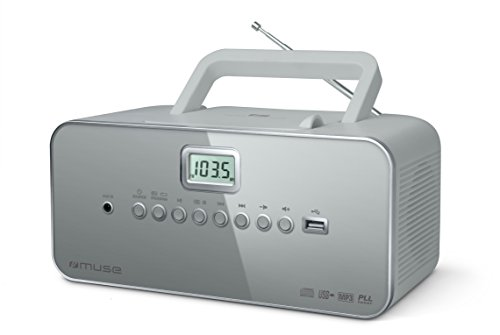 Muse M-28 LG CD-Radio tragbar, PLL UKW-Radio, MW-Tuner, Senderspeicher, USB, MP3-Wiedergabe, Netz- oder Batteriebetrieb, grau (Radio Lg)