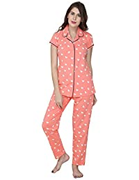 ZEYO Women's Cotton Pink & Navy Blue Heart Print Night Suit