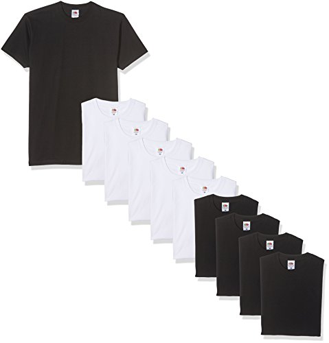 Fruit of the Loom Valueweight Short Sleeve, Camiseta para Hombre, Negro/Blanco, S(Pack de 10)