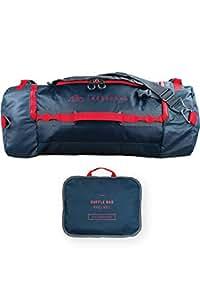 NORDKAMM – Reisetasche 60l mit Rucksack Funktion, Duffle Bag, blau, faltbar, groß, für Damen und Herren, als Umhängetasche oder Rucksack