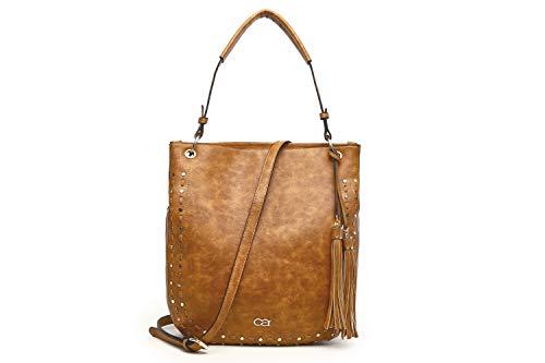 collezione alessandro Handtasche Claire mit Quaste und edlen Metallapplikationen 35cm x 36cm x 11cm