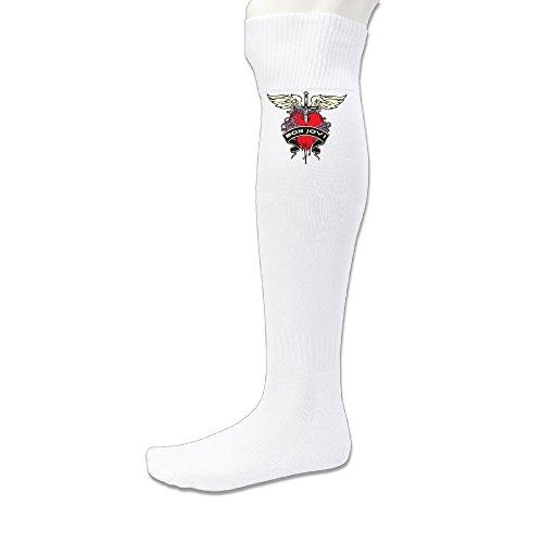 lfish3Bon Jovi 64Athletic über Knie Hohe Socke-Schwarz, Herren, weiß -