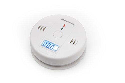 Kohlenmonoxidmelder von globalproducts mit Befestigung für für glatte Oberflächen, Sensor und Alarm mit Digitalanzeige und Höchstwertspeicherung, kohlenmonoxid-warnmelder, brand-melder