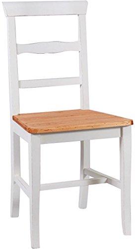 Biscottini Set 2 sedie Country con Struttura in faggio Finitura Bianca e Seduta in Legno massello di Tiglio Finitura Naturale L45xPR43xH92 cm Made in Italy