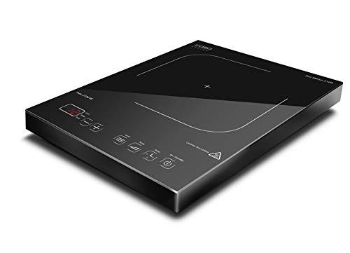 Caso ProMenu 2100 mobiles Design Einzel-Induktionskochfeld, 2100 Watt, Induktions-Kochplatte einzeln, Kochen mit Induktion ist bis zu 50% energiesparender und sicherer als mit einem normalen Kochfeld, so schnell wie Gas, 12 präzise Leistungsstufen