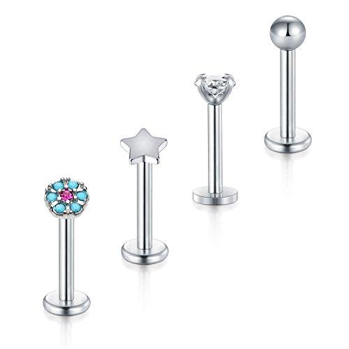 Modrsa mix stile piercing labbro anello 16g piercing trago orecchio piercing helix labret piercing barrette 8mm 4 pezzi