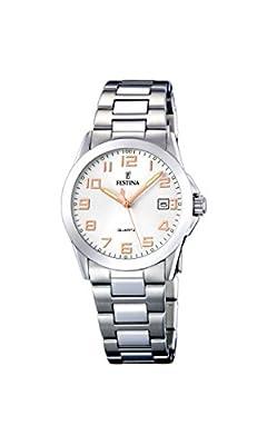 Festina F16377/3 - Reloj analógico para mujer de acero inoxidable Resistente al agua plata de Festina