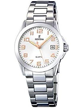 Festina Damen-Armbanduhr XS Klassik Analog Quarz Edelstahl F16377/3
