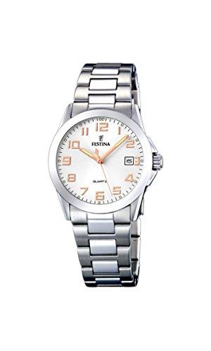 145a1ea3ecd0 Festina F16377 3 - Reloj analógico para mujer de acero inoxidable  Resistente al agua plata