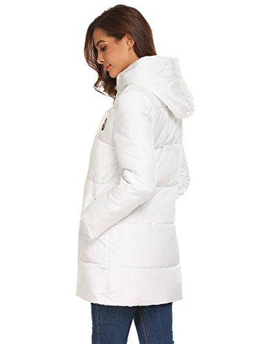 SOTEER Damen Winterjacke Steppjacke Leicht Baumwoll Wattierte Jacke Mit Kapuzen Casual Cool Stil Jacket Warm Outwear Weiß-TYP2