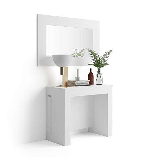 Mobili Fiver, Table Console Extensible avec Porte-rallonges, Easy, Frêne Blanc, 45 x 90 x 76 cm, Mélaminé/Aluminium, Made in Italy