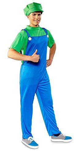 (Folat 21983 Erwachsenenkostüm Super Mario Luigi Klempner, blau/grün XL/XXL)