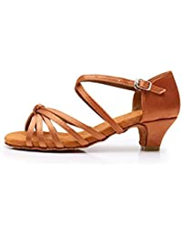 SWDZM Mujer/Niñas Zapatos de Baile/estándar de Zapatos de Baile Latino Satén Ballroom