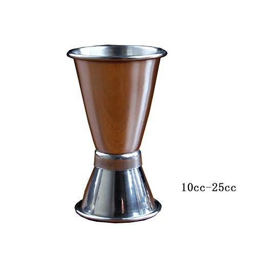 Doseur En Acier Inox Cocktail Mesure Alcool Jigger Single Double Verre Bar 10-25cc 20-35cc 30-45cc FENGMING (Couleur : Silver, taille : 10cc-25cc)