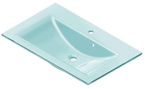 FACKELMANN Glasbecken / Waschtisch aus Glas / Maße (B x H x T): ca. 80 x 14,5 x 50 cm / Einbauwaschbecken / hochwertiges Waschbecken fürs Badezimmer und WC / Farbe: Mintgrün / Breite: 80 cm -