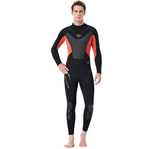 MOTOCO Hombre Traje de Buceo Snorkel de Manga Corta con protección Solar Traje de baño de una Pieza Traje de Surf Traje de Surf(Naranja,M)