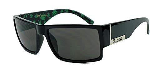 LOCS® Herren Sonnenbrille West Coast Gangsta Flat Top Kush MJ26 (Schwarz poliert)