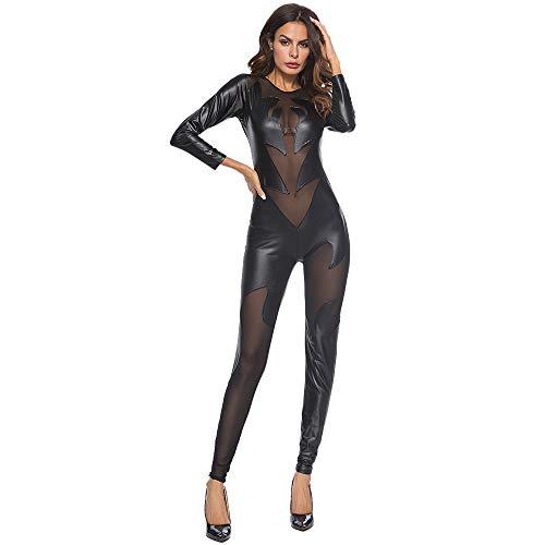 c409a6c21 NPRADLA Ladies Sexy Black PVC Spandex Shiny Catsuit Costume Fashion Sexy  Women Leather Bodysuit Lace Lingerie