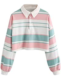 Polos Sudaderas Mujer Cortas - Tumblr a Cultivo a Rayas - Manga Larga - Blusa Camiseta