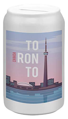ardose Sparbüchse Geld-Dose Wiederverschließbar Farbe Weiß Fernweh Stadt Toronto Kanada Keramik Bedruckt ()