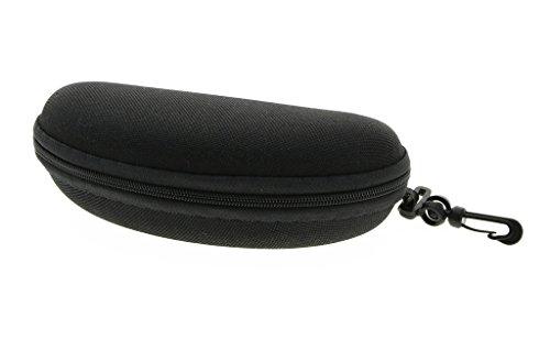 Sonnenbrille weiche Tasche Reißverschluss Brillenetui mit Haken & Gürtel Clip | für mittlere bis große Rahmen | Männer Frauen(Schwarz,1pc)