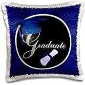 Doreen Erhardt Graduation Collection - Blue Cheetah Print Graduation Cap with Diamond Bling for the Graduate. - 16x16 inch Pillow Case