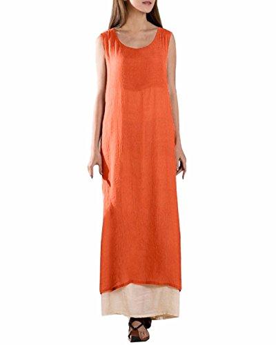 ZANZEA Donna Manica lunga Doppio strato con Bordo irregolare Cotone Lino Vestito (IT 56, senza maniche Orange)