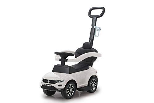 Jamara 460463 Rutscher VW T-ROC 3in1-Kippschutz, Kofferraum, Schub-und Haltestange mit Lenkfunktion, Rückenlehne, seitlichen Schutzbügel, ausziehbare Fußauflage, Sound/Hupe am Lenkrad, weiß