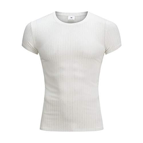 SANFASHION Herren Gym Fitness T-Shirt, Funktionelle Sport Bekleidung,Männer Kurzarm Shirt für Gym & Training,Sommer Slim Fit Top