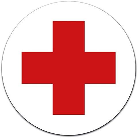 Adesivi DRK croce rossa Ø 12cm per cassetta pronto soccorso o armadietto, primo soccorso, con protezione UV laminato