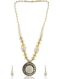 Modish Look White Alloy Strand Necklace Set For Women (MLTR247)