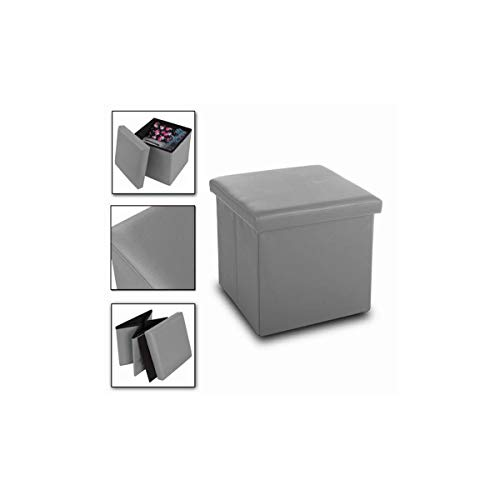Cisne 2013, S.L. Puff baúl de almacenaje Cuadrado y Plegable multifuncion. Medidas 38 x 38 x 38 cm. Color Gris.