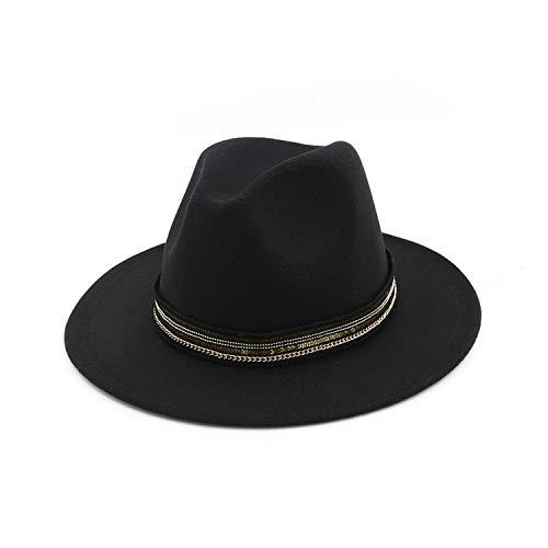 DOGOGO Vintage Damen Herren Wollmütze Fedora aus reinem Filz mit breiter Krempe, Schwarz -