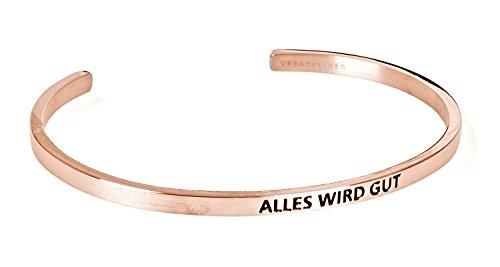 """URBANHELDEN - Armreif mit Gravur - Damen Schmuck Inspiration Motivation - Verstellbar, Edelstahl - Armband mit Spruch\""""Alles wird gut\"""" - Rosegold"""